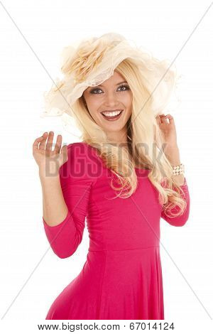 Woman Pink Dress Frilly Hat Hands Up