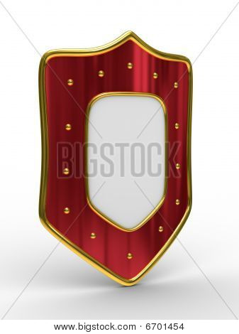 Red Shield On White Background. Isolated 3D Image