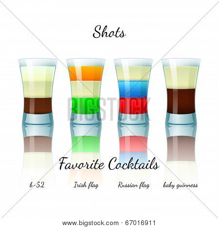 Favorite shot cocktails set, isolated