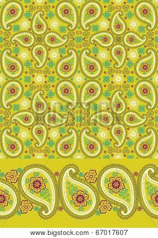 Set Of Paisley Seamless  Pattern And Border