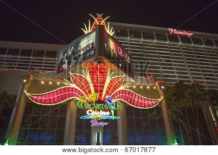 Neon sign in the front of Flamingo Las Vegas Hotel and Casino
