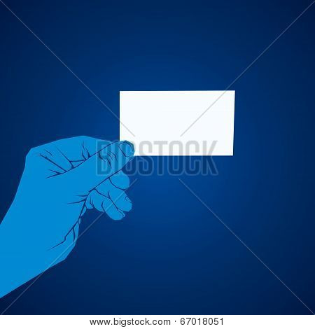blank card hold in hand vector