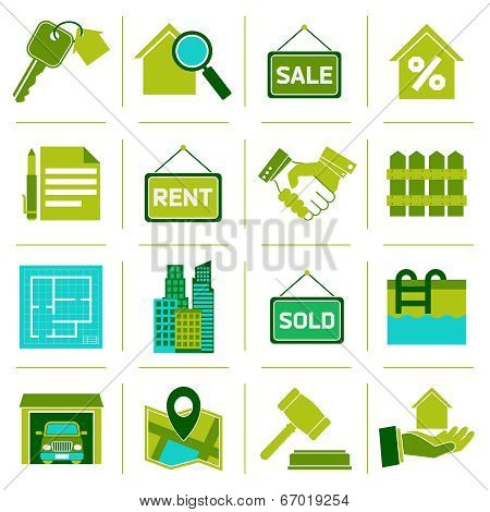 Real Estate Icons Green