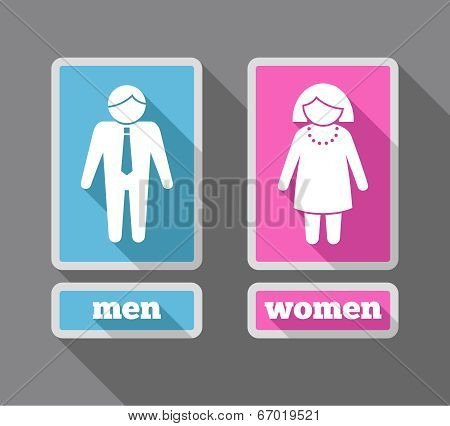 Women and men icons set colored