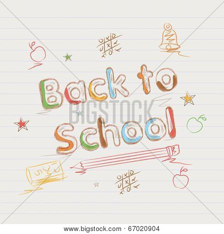 Stylish colorful text Back to School on notepaper with elements.