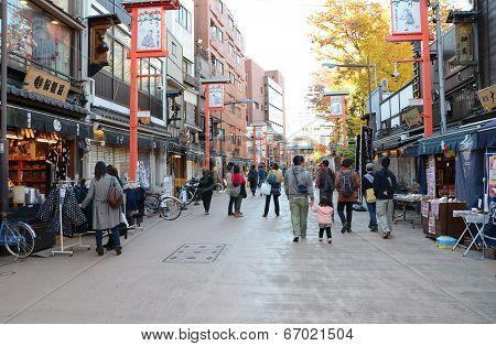 Tokyo, Japan - Nov 21 : Tourists Visit Nakamise Shopping Street In Asakusa, Tokyo, Japan