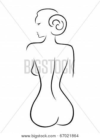 Abstract Sexy Woman Sitting Back