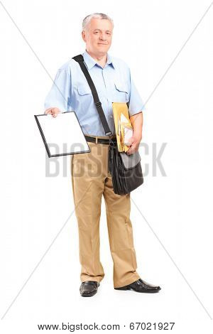 Full length portrait of a mailman holding clipboard and bunch of envelopes isolated on white background