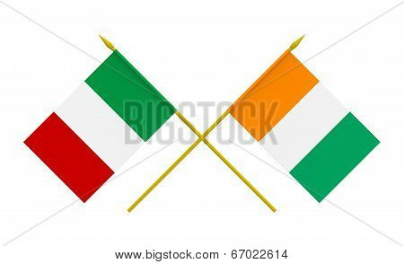 Flags, Italy And Ivory Coast