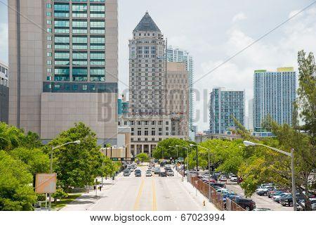 MIAMI,USA - MAY 27,2014 : Urban view of downtown Miami next to Government Center