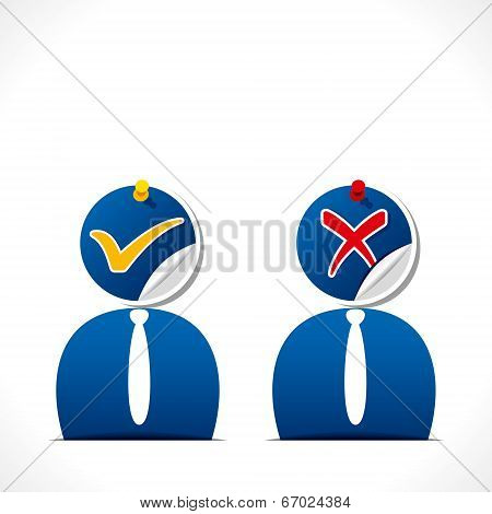 men with right and wrong symbol icon on face vector