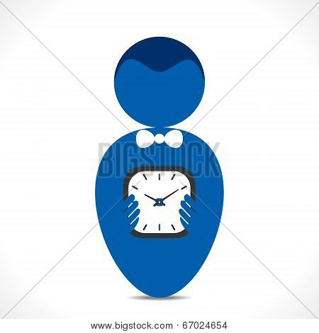 clock in hand or time is money concept vector