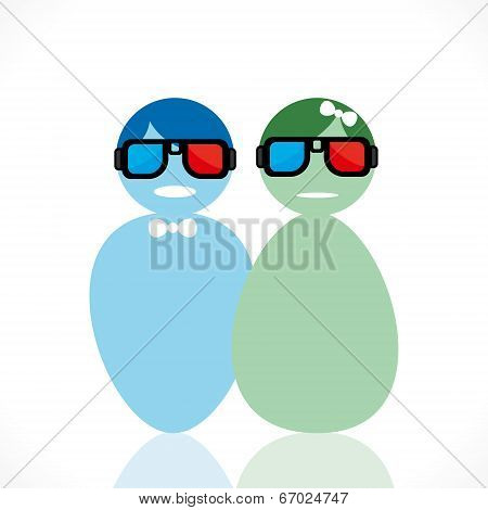 couple wear 3-d movie glasses vector