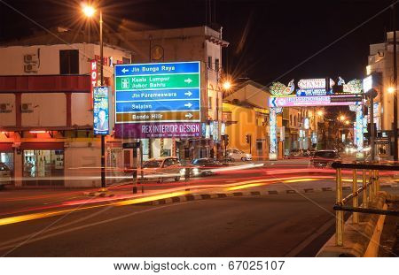 Little India In Malacca At Night