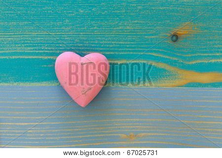 Love Valentine's Heart On Wooden Texture Painted Board Background