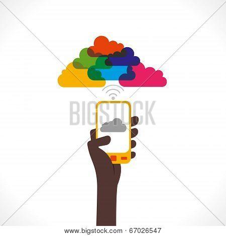 cloud computing concept , colorful cloud