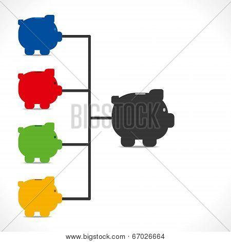 big piggy bank saving split in different work concept vector