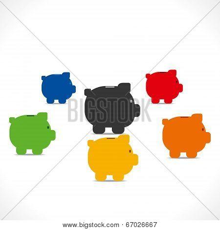 colorful piggy bank saving money concept vector