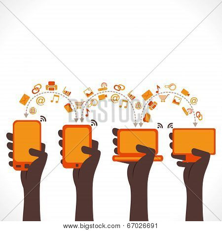 every device share data , information or share data concept vector