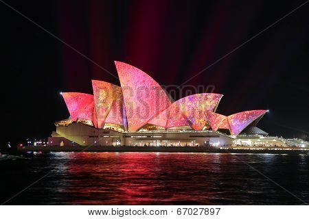 Sydney Opera House In Vibrant Pink Yellow Colours