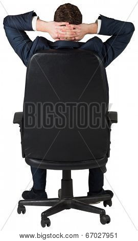 Businessman sitting in swivel chair on white background