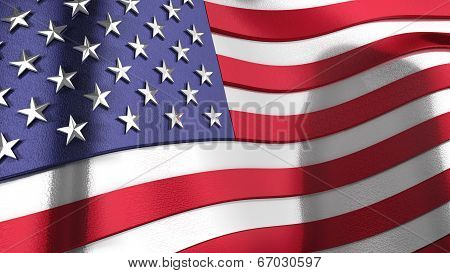3D Wavy Reflective United States Of America Flag