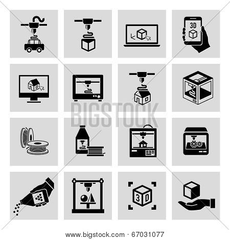 Printer 3d icons set