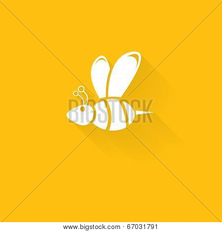 vector  bee icon on honey orange background