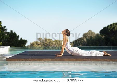 Peaceful brunette in cobra pose poolside on a sunny day at the spa