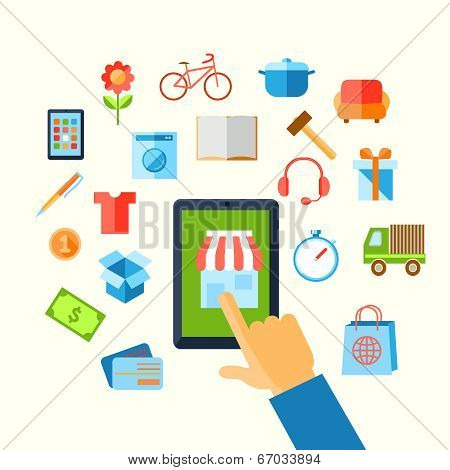 Shopping e-commerce hand concept
