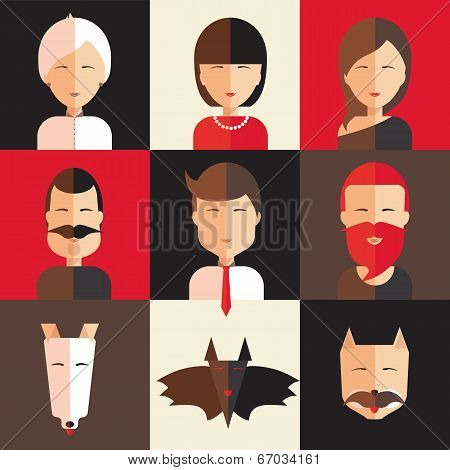 Set Of Avatars Of Women, Men, Animal.