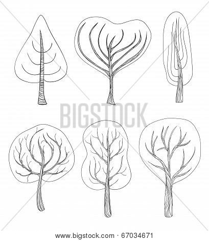 Set Of Six Hand - Drawn Trees