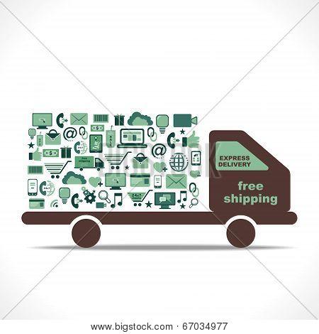 e-commerce icon design free shipping delivery concept vector