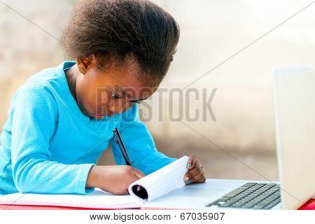 Little African Student Doing Homework.