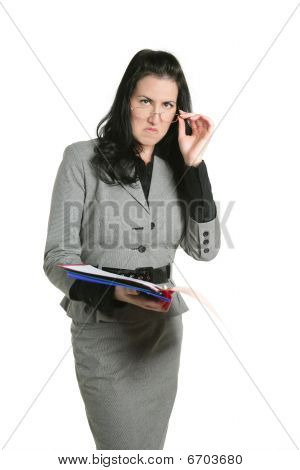 Businesswoman Unhappy Folder Document Results