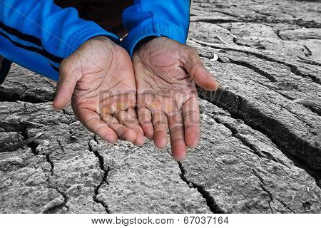 Beggar People And Human Poverty Concept - Senior Person Hands Begging For Food Or Help
