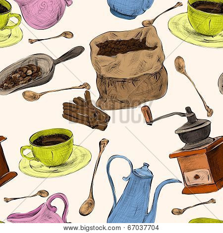 Coffee set seamless colored pattern
