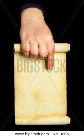 Hand Holding Manuscript