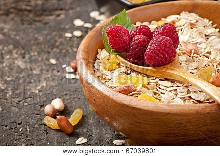 Healthy breakfast - oatmeal and berries