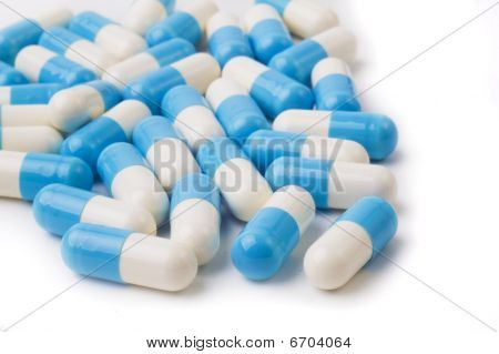 blue and white  pills