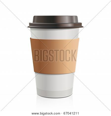 Close Up Take-out Coffee With Brown Cap And Cup Holder. Isolated On White Background. Vector Illustr