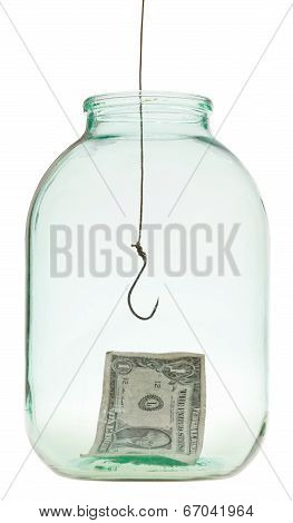 One Dollar Banknote And Fishhook In Glass Jar