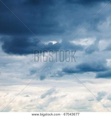 Dark Blue Rainy Clouds In Overcast Sky