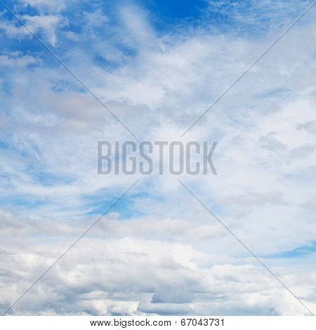 Cirrus And Cumuli White Clouds In Blue Sky