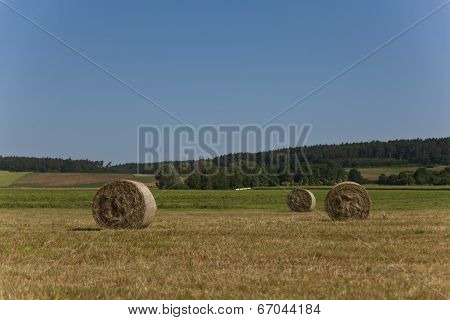 Circular Straw Bales in field with blue sky