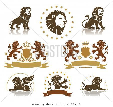 Lions heraldic set with banners, ornaments and crowns