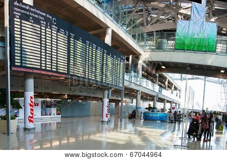 Bangkok, Thailand - May 22, 2014: International Arrivals Exit At Suvarnabhumi Airport In Bangkok ,th