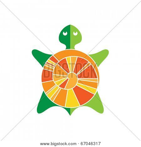 Symbolic image turtle - stylized vector sign