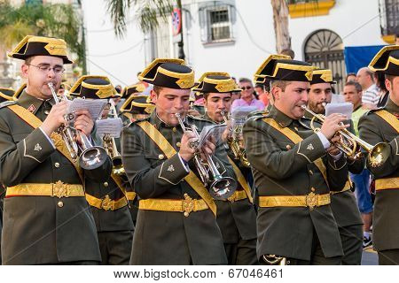 Musicians Marching And Playing Trumpets