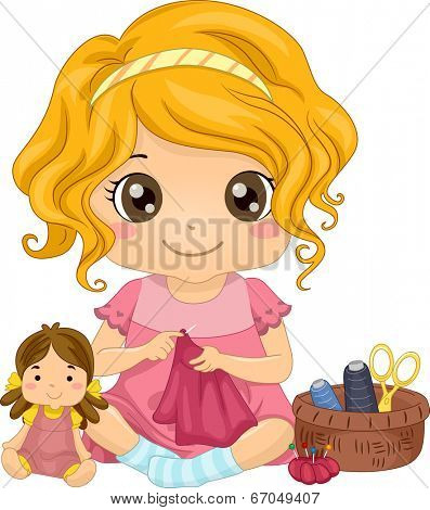 Illustration of a Cute Little Girl Sewing a Dress for Her Doll